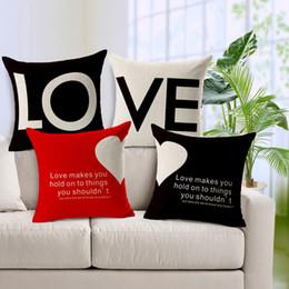 Wholesale Sofa Cushion Covers Set - Cushion Cover Cotton Linen Pillow Case Sofa Waist Throw Couch Car Ded Home Decor Love Letter & Heart Shape Pillowcase Chair Covers 2pcs set