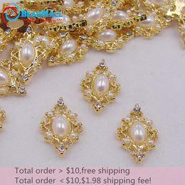 Wholesale Diamond Pearl Nail Art - Min Order $10 New 20pcs lot 10*17mm 3D Nail Art Decorations Alloy Gold Base Diamond with Imitation White Pearl Nail Art DIY