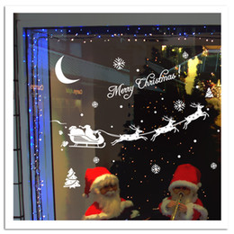 Wholesale Christmas Art Posters - Santa's Cart Snowflake Moon Christmas Tree Wall Stickers Store Window Glass Wall Decal Christmas Carriage Home Decor Wall Poster Mural White