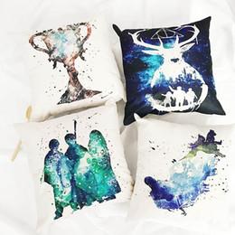 Wholesale Throw Pillows For Sofas - Harry Potter Throw Pillow Case Cushion Cover Square Fashion Style Sofa Decoracion for Christmas Restaurant Hotel Home Car 45 X 45CM Linen