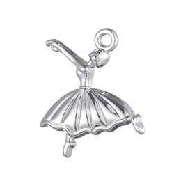 Wholesale Ballerina Dancers - Myshape Free Shipping Antique Silver Gold Plated Ballerina Dancer Charms Dance Girl Figure Dancing Charm for Woman Gift