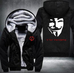 Wholesale Mask Hoodies - Winter V for Vendetta Mask Rangers Men's hooded Sweatshirts Thicken Zipper hoodies outerwear drive Outdoor sport sweatshirt warm Sportswear