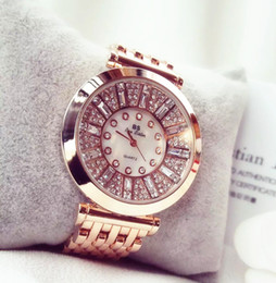 Wholesale Red Roses Dress Rhinestones - Newest brand Fashion Women Watches High Quality Austrian Diamond Women Rhinestone Watches, Rose Gold Woman Lady Dress Watch Clocks