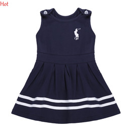 Wholesale Striped Sundress - Korean Cute Baby Girl Dress O-Neck Sleeveless Tank Pleated Girls Clothes Fashion Sundress Children Clothing Navy Baby Summer Dress SV017190