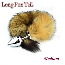 Wholesale Sexiest Anal Toys For Men - 82 * 34mm medium Metal Erotic Anal Butt Plugs +35cm Long Fox Tail, Anus Sexy Toys For Women & Men Anal Butt Plug BY DHL