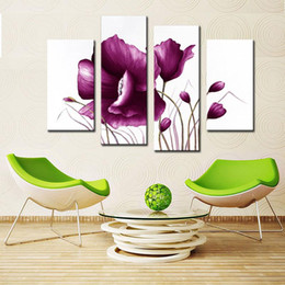 Wholesale Tulip Canvas Wall Art - Amesi 2016 New Arrival Oil Paintings Canvas Purple Color Tulips Flower Paintings Living Room Wall Art Picture