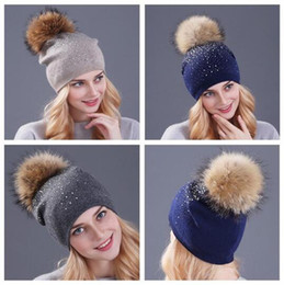 Wholesale Woman Hat Glitter - 10 Colors Rhinestone Beanies for Women Spring Glitter Knitted Caps Winter Cap Solid Color Skull Slouchy Beanies With Raccoon CCA7268 20pcs