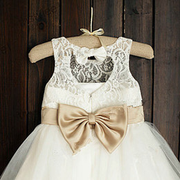 Wholesale multi color pictures - Girl Birthday Party Christmas Dresses With Hand Made Flowers Jewel Pearls Children Flower Girl Dresses For Weddings Ribbon Communion Dress48