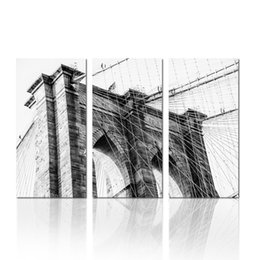 Wholesale Bridge Life - Black and White Artwork Bridge Paintings Art On Canvas Dropship Print 3 Panels Home Decoration Wall Hanging For Living Room And Bedroom