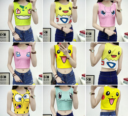 Wholesale Top Sexy Cosplay - 2016 Poke Cartoon Vest Woman Picha Qiu Printed Short Paragraph Exposed Navel Waist Tight Slim Vest Cosplay Must Have