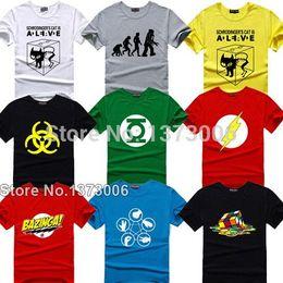 Wholesale super hero shirts - The Theory T-shirt Sheldon Cooper Super Hero Green Lantern The Flash Cosplay T Shirts Men Women Geek Tee TBBT Tshirt