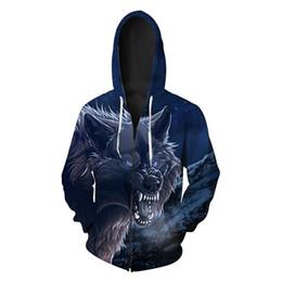Wholesale Mens Hoodies 6xl - Mens Wolf Print Hoodies Sweatshirts For Boy's Novelty Long Sleeve Pocket Zipper Cardigan Hooded Sweatshirt Outerwear 6XL