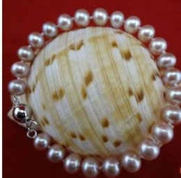 Wholesale Silver Articles Wholesale - 925 silver 8-9 mm round bead bracelet adorn article Natural freshwater pearl bracelet