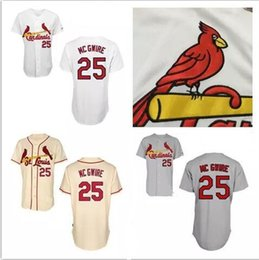 Wholesale Sport Marks - Discount Mark McGwire Jersey 2017 St. Louis Cardinals #25 Authentic Baseball Jerseys Embroidery Stitched Onfield Home Men's Sport Shirts