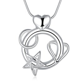 Wholesale Wholesale Indian Jewelry India - Silver heart pendant attached to star India Ms. necklace jewelry factory wholesale high-quality fashion jewelry CN782