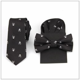 Wholesale Men Wedding Tie Handkerchief - tie bow tie handkerchief set print skull hanky pocket square polyester handkerchief bowknot handkie wedding red black blue