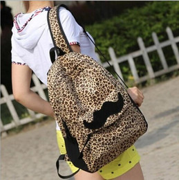 Wholesale Beard Backpack - New Nice Backpack Fashion European and American Style Women Backpacks Lovely Beard Vintage Leopard Bag Nylon Backpack School Bag SV113258
