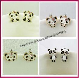 Wholesale Rhinestone Panda Earring - 10pair  lots Lovely Panda Ladies Girls Earrings Fashion Jewelry Free shipping Wholesale