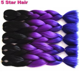 Wholesale Synthetic Braiding Hair Purple - 4-10pcs Lot Black+Purple+Blue Ombre Kanekalon Braiding Hair Kanekalon Jumbo Braid Hair,Ombre Braiding Hair Synthetic Braids Hair