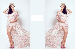 Wholesale Photography Evening Dress - 2017 Flower Printed Pregnant Photography Props Maternity Photo Dress Long Photo Shoot Dress Evening Party Dress