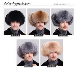 Wholesale Leather Ushanka Hat - Fox Raccoon fur bomber hat with leather top for men winter ear flaps Leifeng hats muticolors Russian Ushanka outdoor warm caps