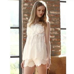 Wholesale Princess Pyjamas - Wholesale- Pyjamas Women Princess Sleepwear Pure Cotton Pajama Pants Women Sexy Lingerie Adult Pajamas Casual White Cute Pajamas Sets