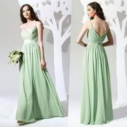 Wholesale Maid Honor Long Dresses - Grass Green Chiffon Bridesmaid Dresses With Spaghtti Strap V Neck Cheap Wedding Bridesmaids Dress Maid of honor Gowns