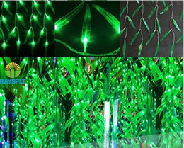 Wholesale Ac Led Green - Holdiay Lights 4Mx0.6M decoracion fiestas Green Leaf navidad curtain string lucs LED light christmas decorations for home AC 110v-240V