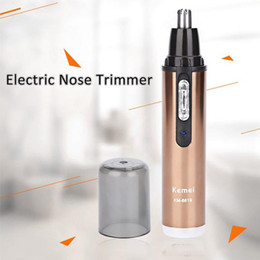 Wholesale Trimmer Cleaner - Fashion Kemei KM6619 Professional Rechargable Electric Nose Ear Eyebrows Hair Removal Cleaner Trimmer Clipper Portable Home Use