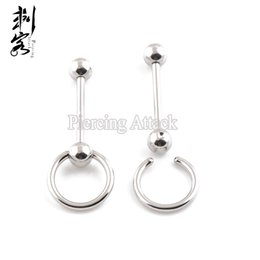 Wholesale Surgical Tongue Rings - 316L Surgical Steel Slave Ring Barbell Tongue Piercing Jewelry Free Shipping