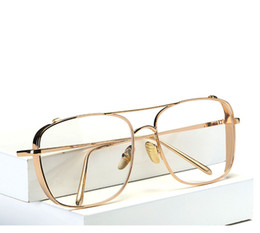 Wholesale Plain Eye Glasses For Men - gold glasses frames for men brand optical glasses women frames clear transparent eye glasses metal frame square eyeglasses women clear lens