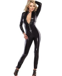 Wholesale Adult Womens Halloween Costumes - Adult Womens Wet Look Black Halloween Catsuit PU Patent Leather Costume Sexy Stretchy Bodysuits Zips in front