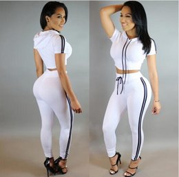 Wholesale Sexy Pants Tops - 2017 New Fashion Women Sexy Two Piece Outfits Crop Top And Long Pants Women Casual Sport Suit Set Black White Blue