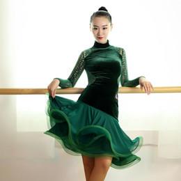 Wholesale Latin Dance Show - women professional Exquisite green black velvet lace splicing latin rumba samba salsa dance competition performance show dress