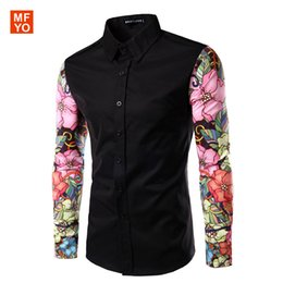 Wholesale Mens Gold Dress Shirts - Wholesale-Men Shirts Long Sleeve 2016 brand clothing Contrast Color Arm Spliced Floral Mens Luxury Casual Shirts chemise homme