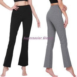 Wholesale Bell Bottom Dance Pants - Lot 10x Casual Elastic Waist Sportswear Full Length Capris Woman Yoga Flare Pants Sweatpants Hip Hop Dance Bell Bottom Sport Pants Trousers