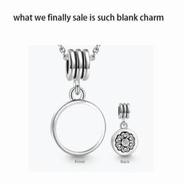 Wholesale Photo Charm Beads - Alloy Customized blank round dangle photo bead Metal Slider Big Hole European Charms Fit Pandora Chamilia Biagi Bracelet