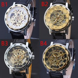 Wholesale Low Price Automatic Watch Brands - Lowest Price Winner Brand Men watches Black Leather Strap Stainless Steel Skeleton Mechanical Watch For Men Gold WristWatches Free Shipping