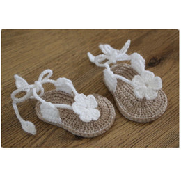 Wholesale Crochet Baby Girl Summer Shoes - baby girl Toddler shoes Crochet Handmade Woolen Crochet Knit soft bottom summer kids shoes 6-12M chaussure bebe fille