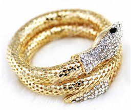 Wholesale Love Stretch Bracelet Wholesale - Wholesale-2016 New fashion Vintage Punk Curved Stretch Snake Cuff Bracelet silver bohemian Charms Vintage gold love bracelet bangle women