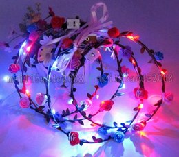Wholesale Light Up Headband Christmas - LED Flashing Rose Flower Festival Headband Veil Wedding Light-Up Floral Garland Hairband Daughter Best Gift MYY