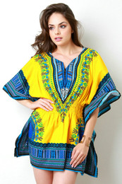 Wholesale Vintage Womens Dress Patterns - 2017 Tribal printed Dashiki dress womens dashiki half sleeve indian pattern print fashion V-neck Cotton Peplum dress African girls dress