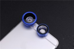 Wholesale clip hot mobile - New hot Universal Clip 3 In 1 Universal Clip Camera Mobile Phone Lens Fish Eye + Macro + Wide Angle For All Phones fisheye