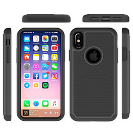 Wholesale armor tire - for Iphone X Case Hybrid TPU Tire Pattern Armor Silicone Rubber Hard TPU+PC Case for Samsung Galaxy Note 8 Hard Back Cover Impact Stent