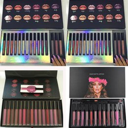 Wholesale Gift Bags Mixed Sizing - Beauty Lip Strobes Matte Liquid Lipstick Lip Gloss 16 Colors Makeup Lipstick Set Lip Kit Gift Box Trophy Wife Natural Long Lasting Bag Kit