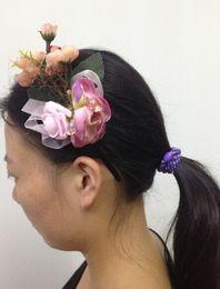 Wholesale Crystal Ribbon Hair Band Wholesale - 2pcs lot Women rose flower hair band Headwear Hair Wrap Novelty Headband Hair Accessories
