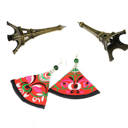 Wholesale Miao Embroidery - New Miao embroidery earrings handwork sector earrings national wind earring red and green fabrics cloth earring embroidery flower earrings
