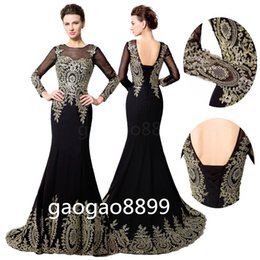 Wholesale Designer Wedding Gowns Chiffon - In Stock Long Sleeve Evening Dresses Real Photo Gold Lace Embroidery Sheer Neck Lace-up Arabic Dubai Mermaid Occasion Prom Party Gowns Cheap