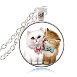Wholesale Two Chains Circle Pendants - Kitten Necklace Two Love Cats Pendant Charm Animal Jewelry Glass Cabochon Silver Chain Sweater Necklace Accessories