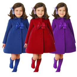 Wholesale New Girl Coats - 2016 Autumn Baby Fashion New Children Coat Baby Girls Winter Coats With Bow Girls Warm Baby Jacket Winter Outerwear